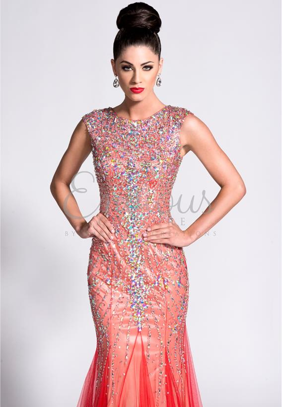 BEADED TULLE NUDE,RED,BLACK 15005