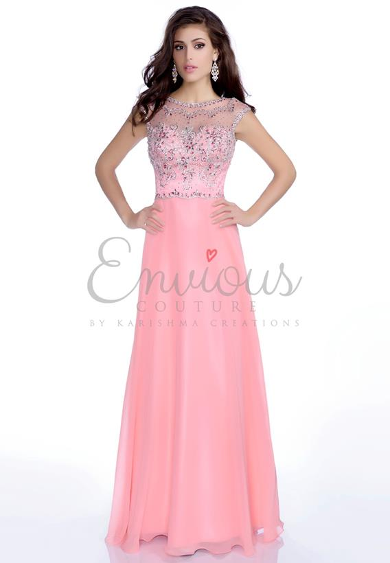 BEADED CHIFFON SILVER,SALMON 16158