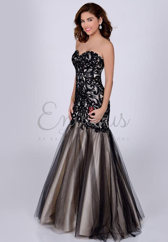 BEADED TULLE BLACK 16232
