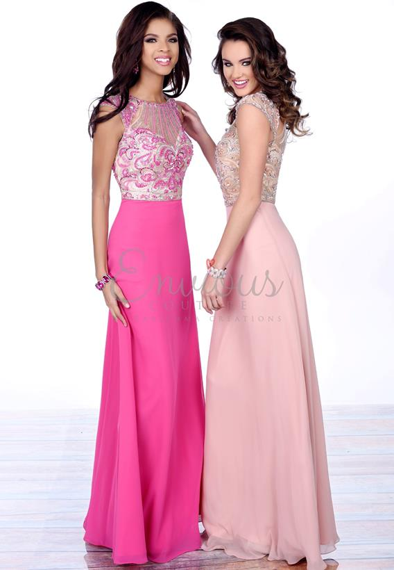 BEADED CHIFFON FUCHSIA,BLUSH 16358
