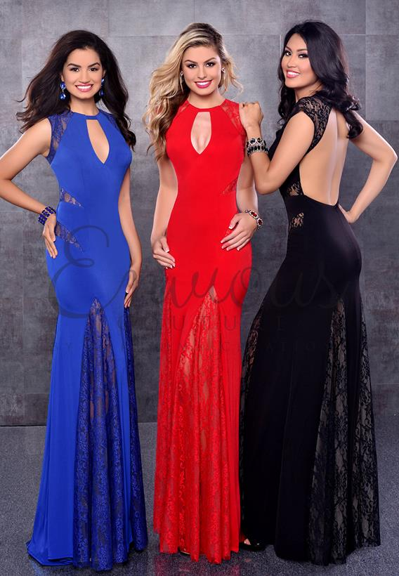 Lace/Jersey Black,Red,Royal,Nude 17187