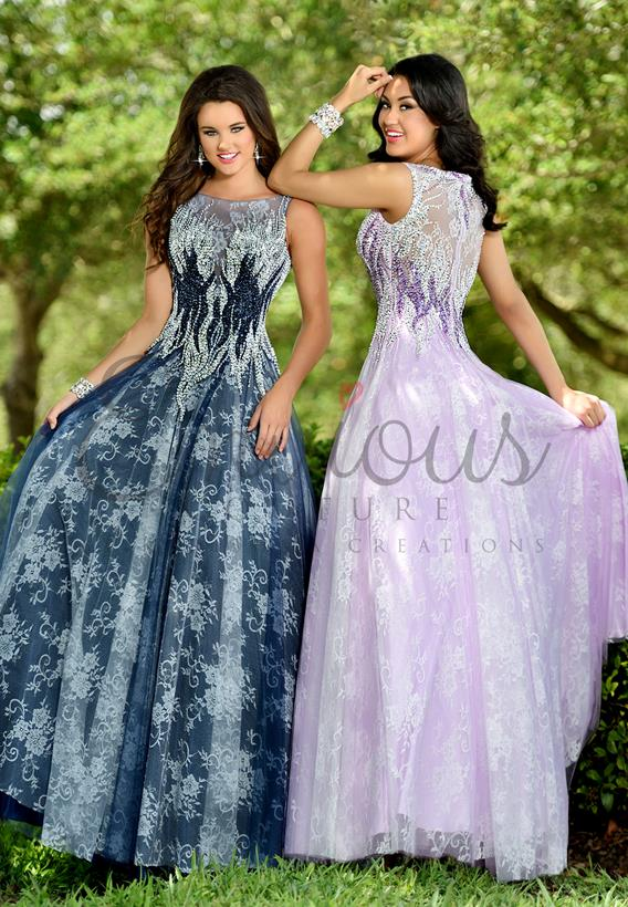Beaded Tulle/Lace Navy,Lavender 17337