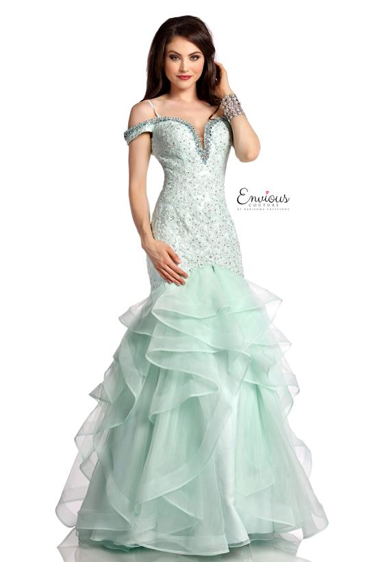 BEADED TULLE/ORGANZA MINT 18027