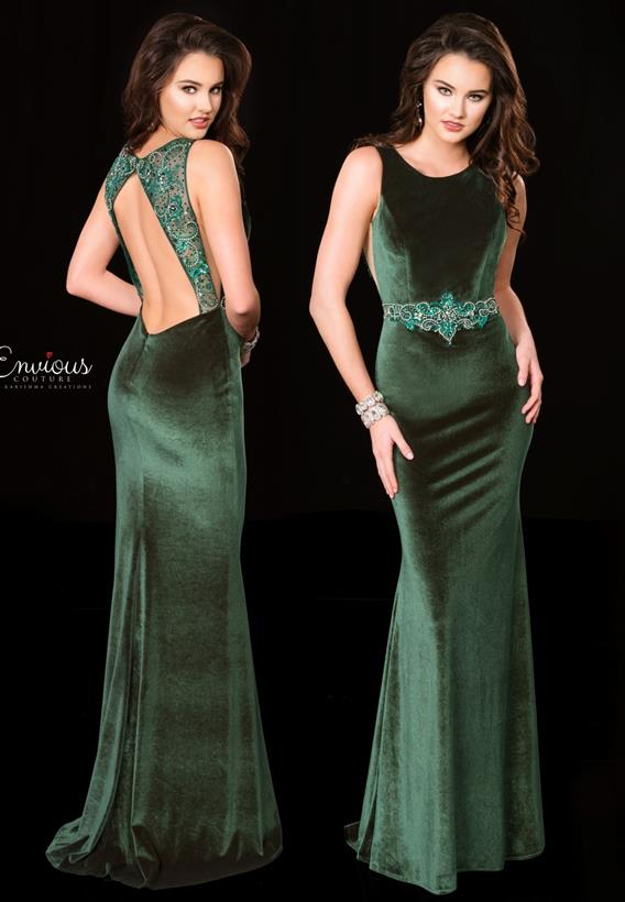 Beaded Glittered Velvet Emerald 18511
