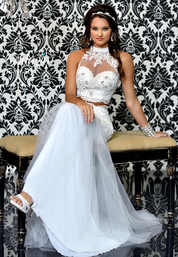 Tulle/ Lace Ivory,White D9167