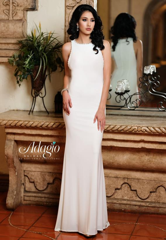 Beaded Jersey Ivory,White D9222