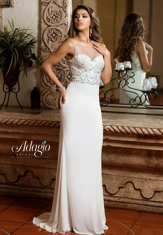 Beaded Jersey Ivory,White D9223