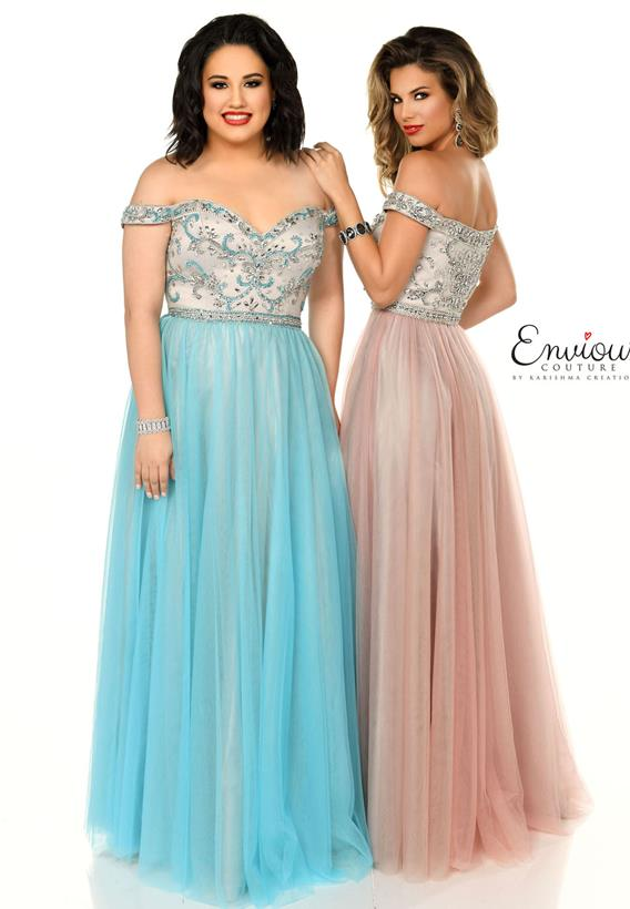 Beaded Tulle Sky Blue,Dusty Rose E1051