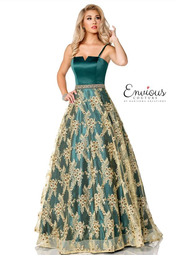 Embroidered Shimmer Tulle on Matte Satin Emerald,Gold E1057
