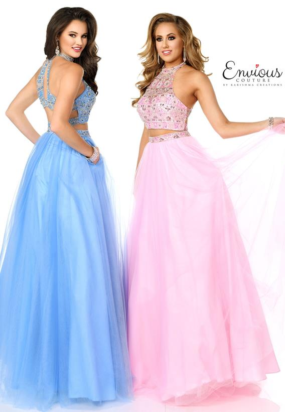 Beaded Tulle Pink,Sky Blue E1060
