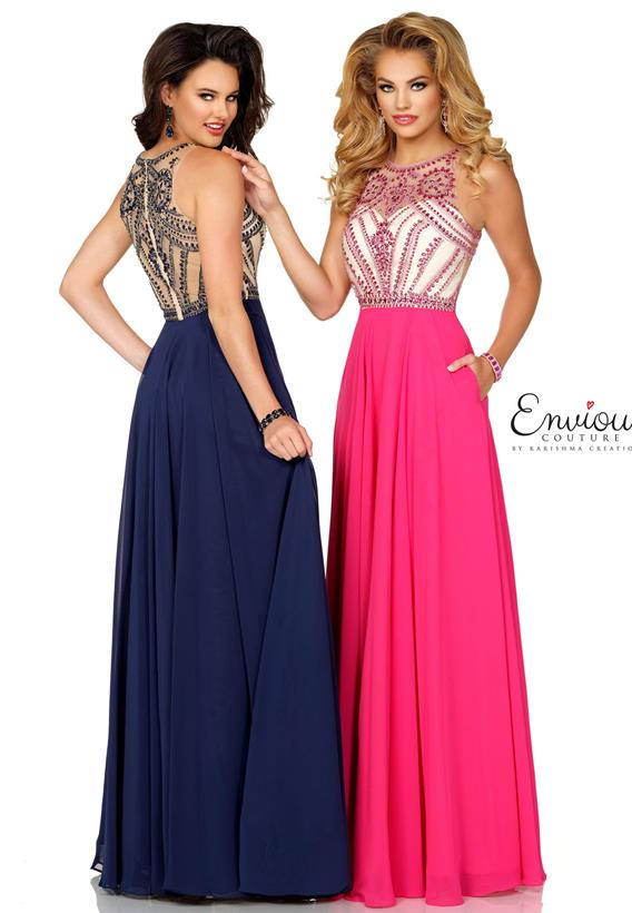 Beaded Chiffon Fuchsia,Navy E1086