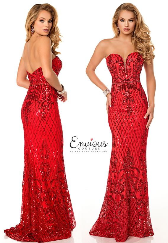Sequins Red,Ivory E1099