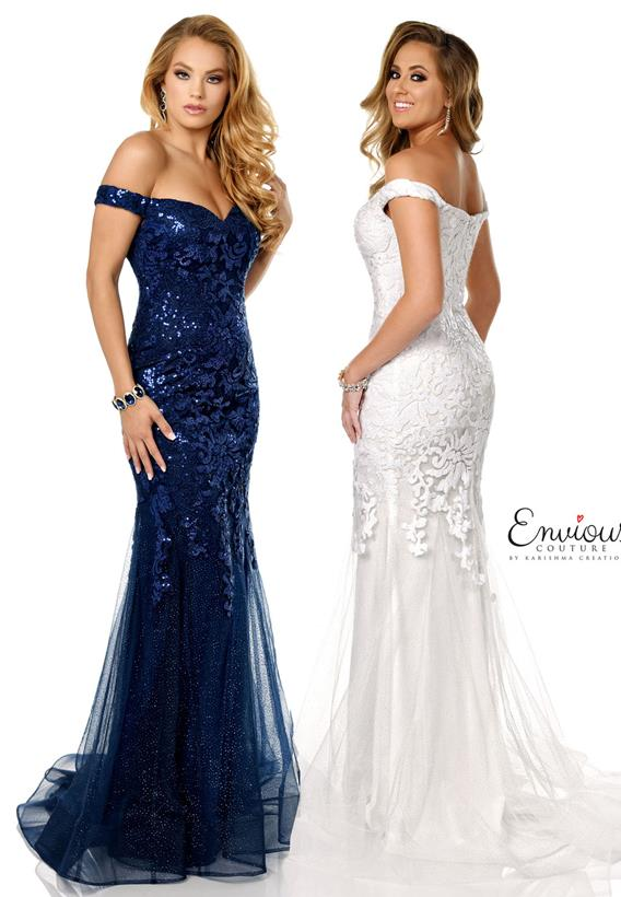 Glittered Tulle/ Sequined Lace Navy,Ivory E1169