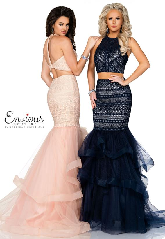 Beaded Lace/ Tulle Navy,Pink E1178