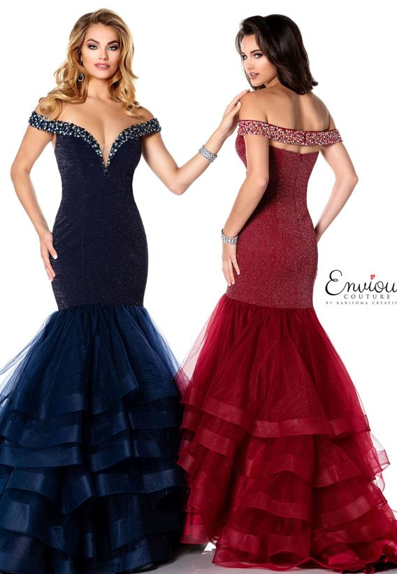 Beaded Shimmer Jersey/Tulle Navy,Wine E1196