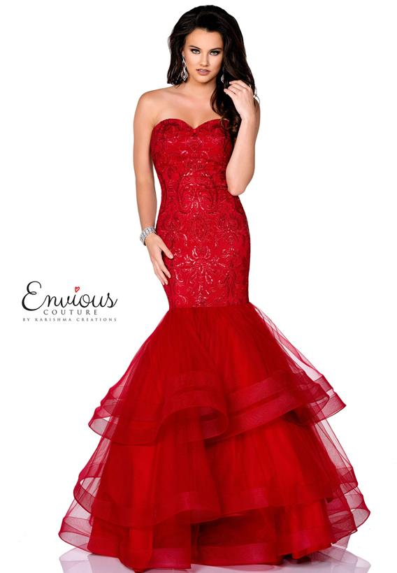 Embroidered Tulle Burgundy E1245