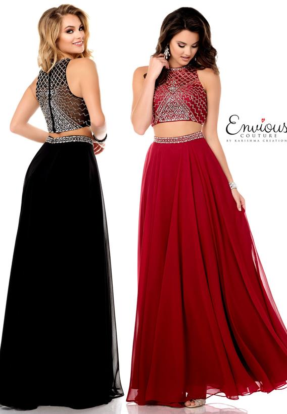 Beaded Chiffon Burgundy,Black E1267