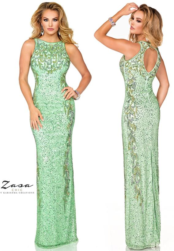 Beaded Tulle Paris Green,Ivory K2025