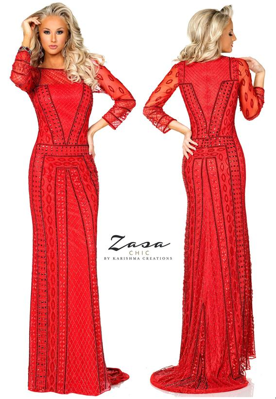 Beaded Tulle Jazzy Red K2033