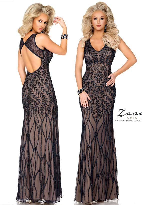 Beaded Tulle Navy,Nude K2038