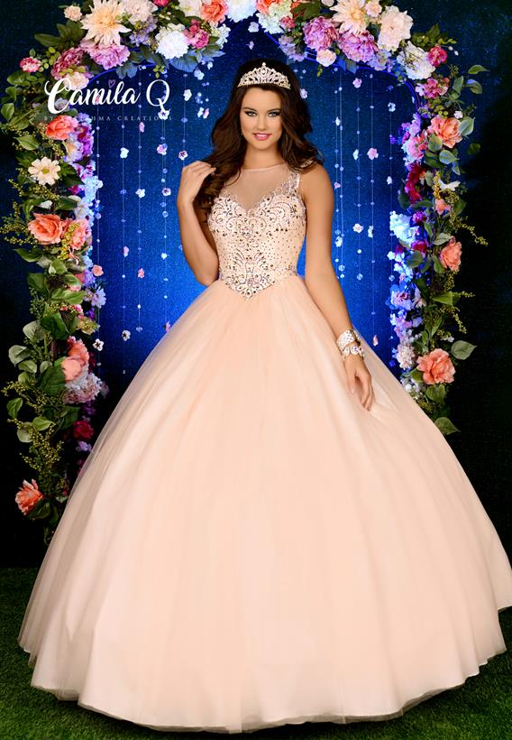 Beaded Tulle Peach,Mint Q17011