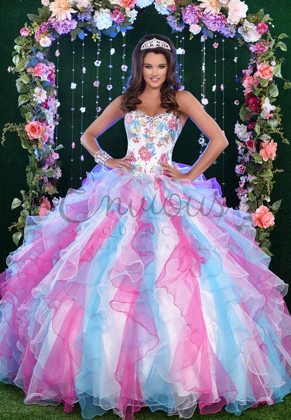 Tulle/Organza Ivory,Fuchsia,Turquoise Q17026