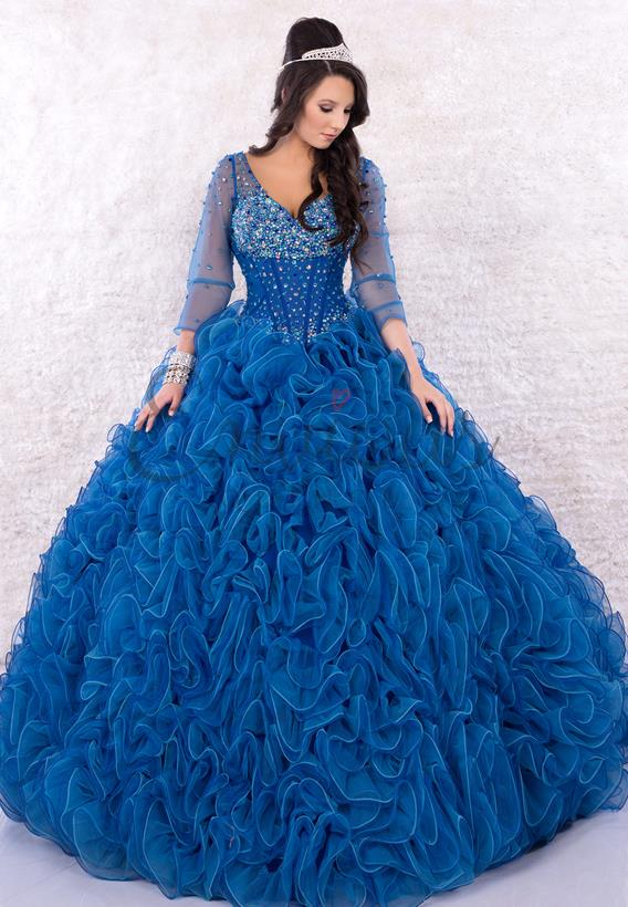 Beaded Tulle Royal Q17032