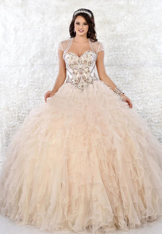 Beaded Tulle Champagne Q17035
