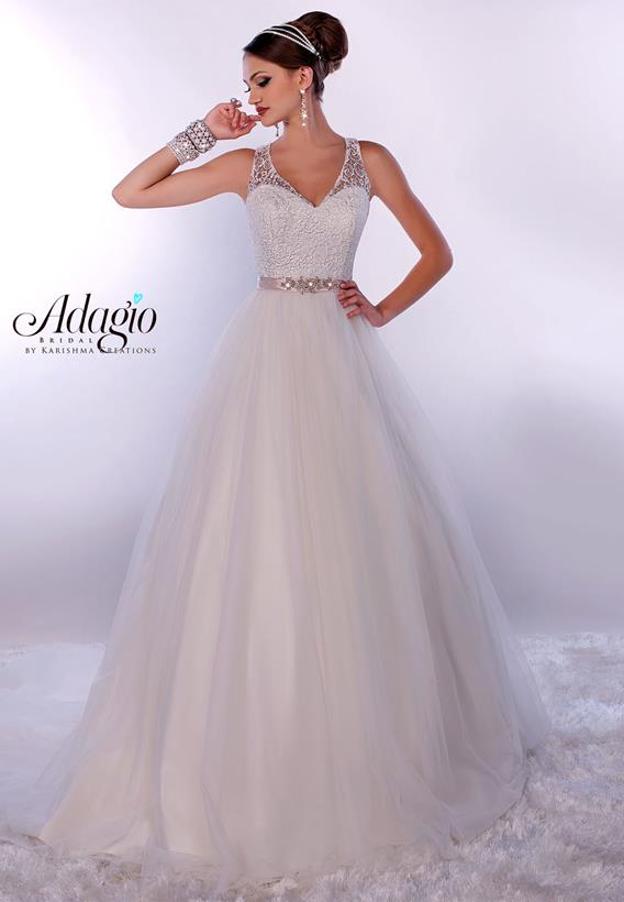 Beaded Lace/Tulle Ivory,White W9162