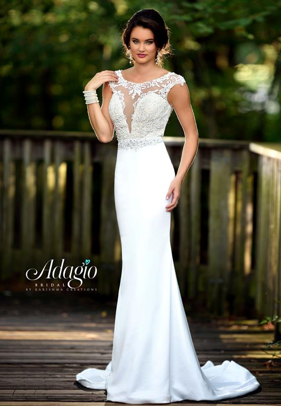 Beaded Lace/ Wrinkled Satin Ivory,White W9293