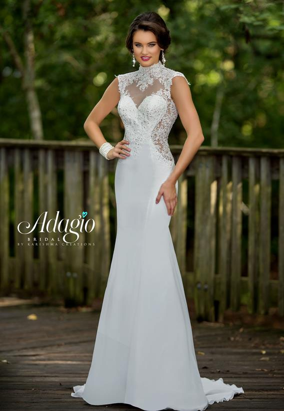Sequin Lace/Chiffon Ivory,White W9301