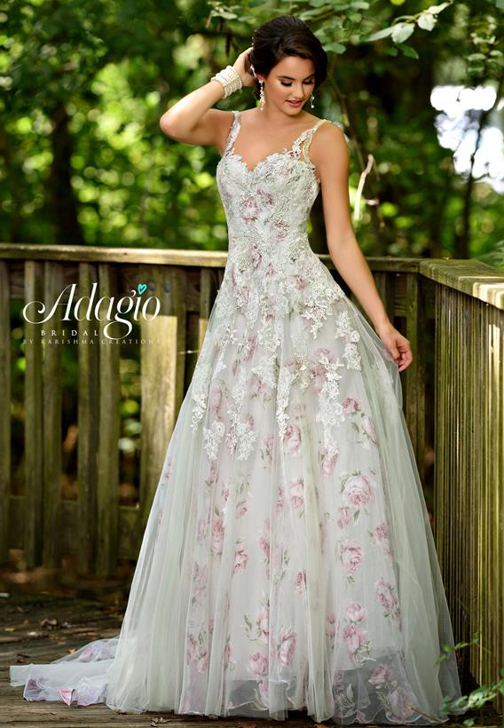 BEADED LACE/ TULLE IVORY,PRINT W9305