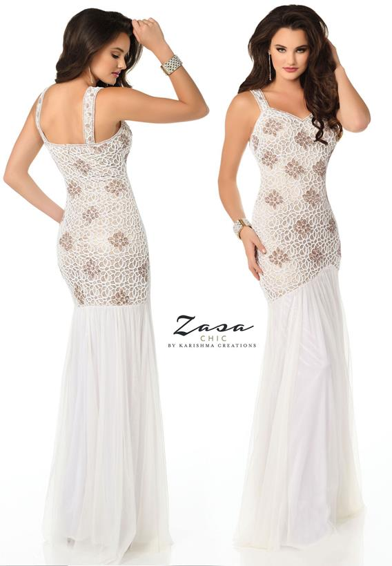 Beaded Tulle Off-White Z2052
