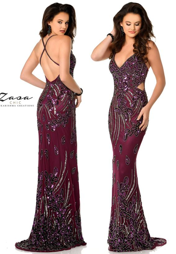 Beaded Tulle Plum Z2071