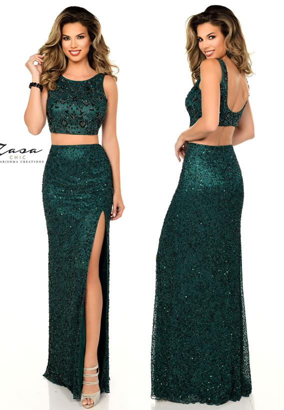 Beaded Tulle Hunter Green Z2096